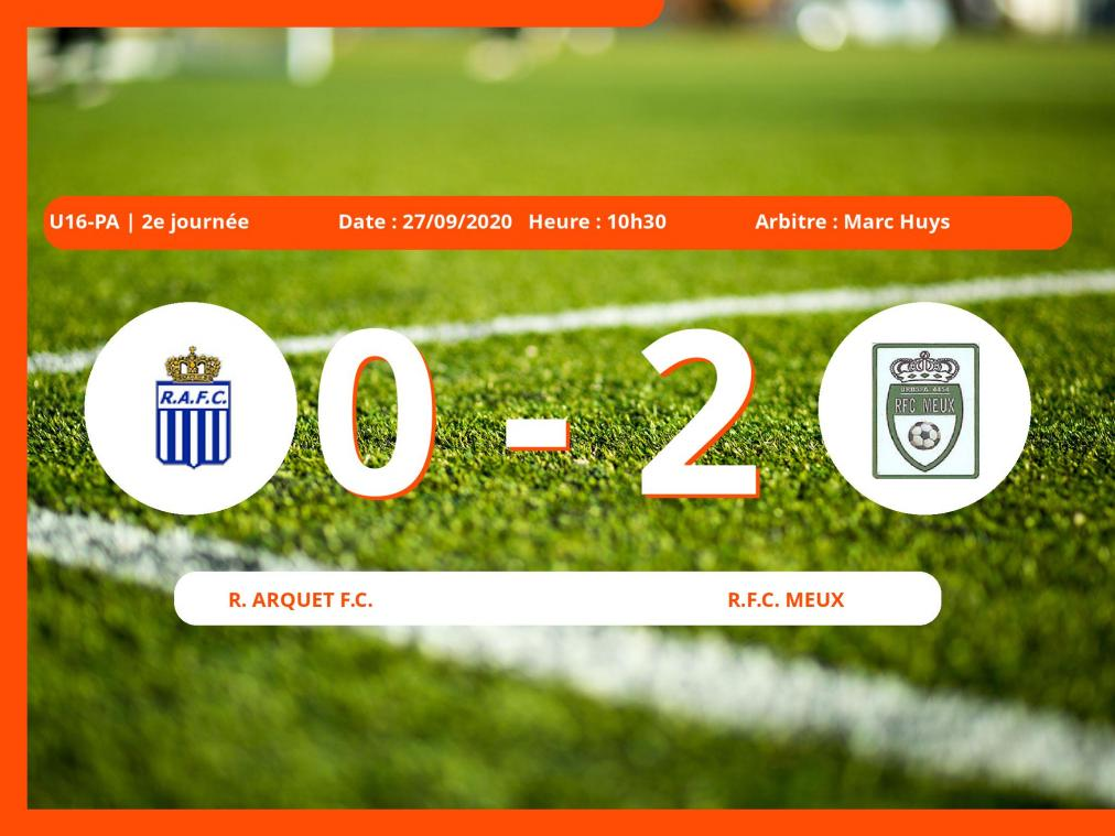 U16-PA (Namur): succès 0-2 du Royal Football Club Meux face au Royal Arquet Football Club