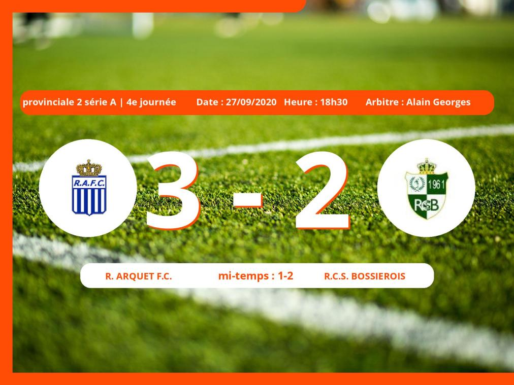 Provinciale 2 série A (Namur) : courte victoire du Royal Arquet Football Club face au Royal Club Sportif Bossiérois, 3-2