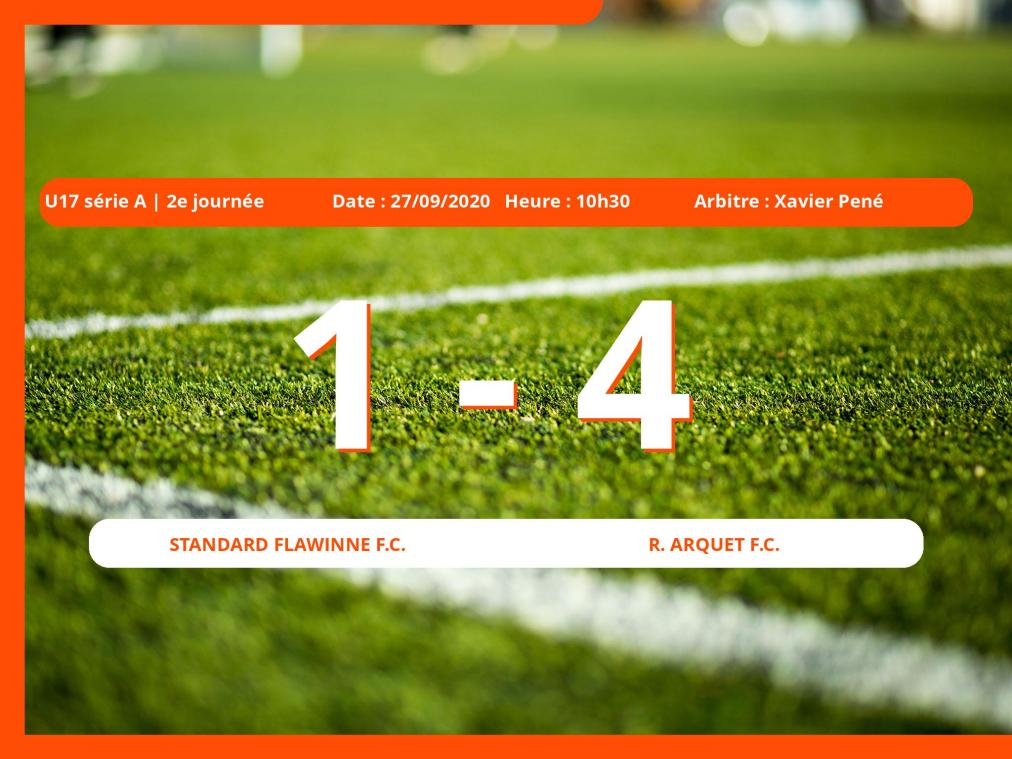 Le Standard Flawinne Football Club s'incline devant le Royal Arquet Football Club en U17 série A (Namur) : 1-4