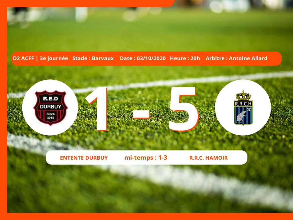 D2 ACFF (Nationale ) : le R.R.C. Hamoir facile contre l'Entente Durbuy, 1-5