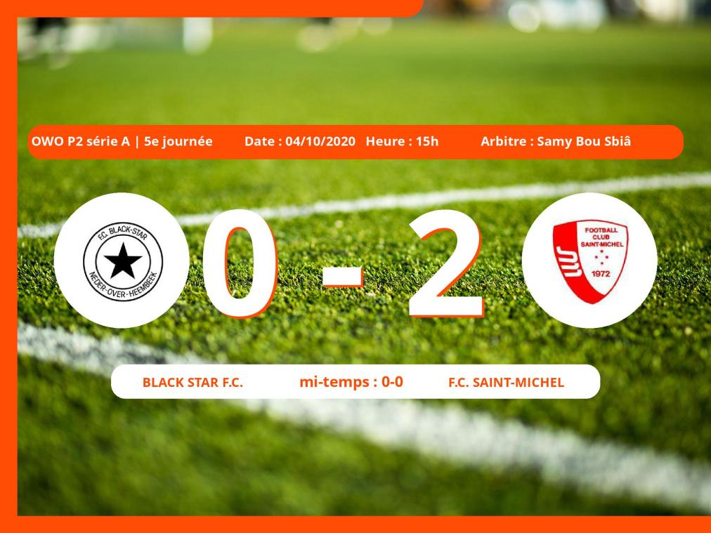 Le Black Star Football Club s'incline devant le Football Club Saint-Michel en OWO P2 série A (Brabant ACFF/Bruxelles ) : 0-2