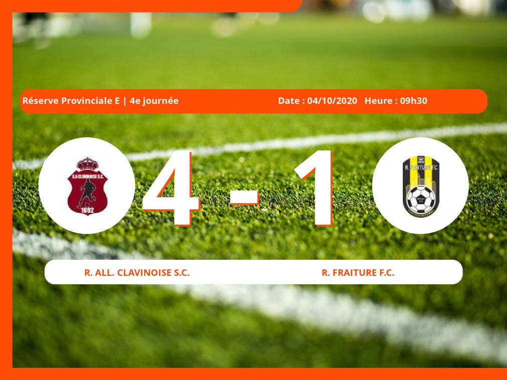 Le Royal Fraiture Football Club s'incline devant la Royale All. Clavinoise S.C. en Réserve Provinciale E (Liège) : 4-1