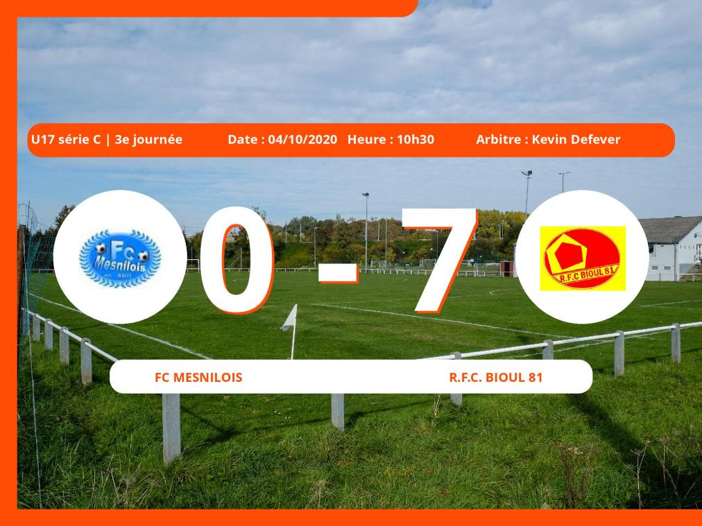 U17 série C (Namur) : le Royal Football Club Bioul 81 facile contre le FC Mesnilois, 0-7