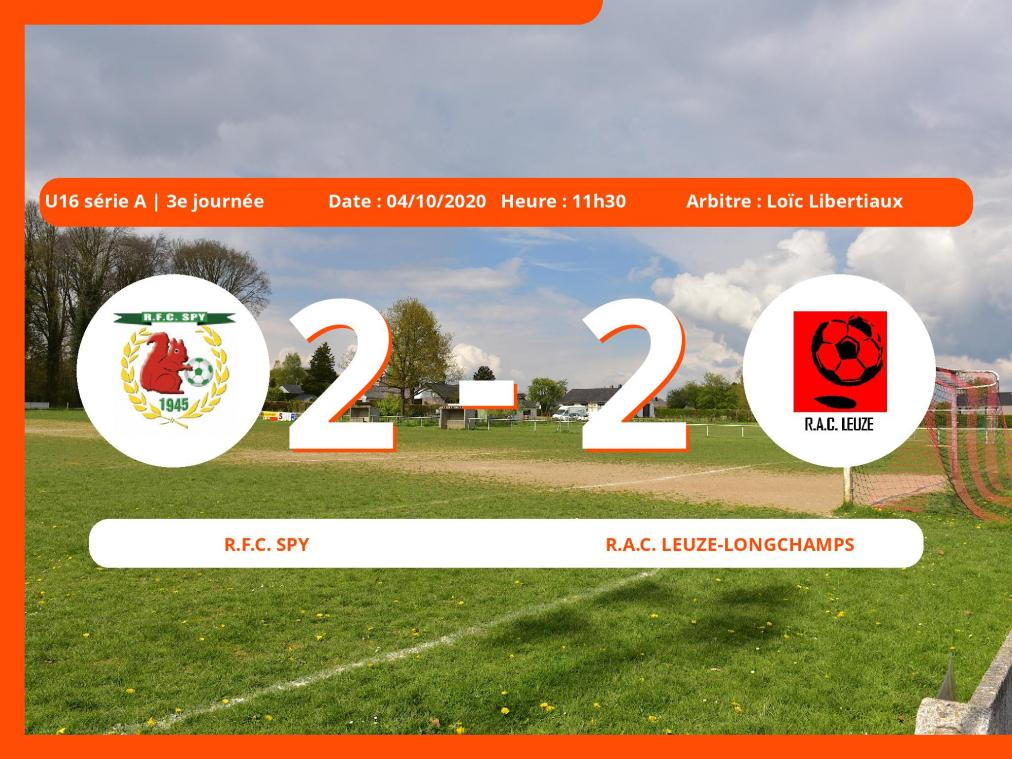 U16 série A (Namur) : le Royal Football Club Spy et le R.A.C. Leuze-Longchamps se quittent sur un match nul (2-2)