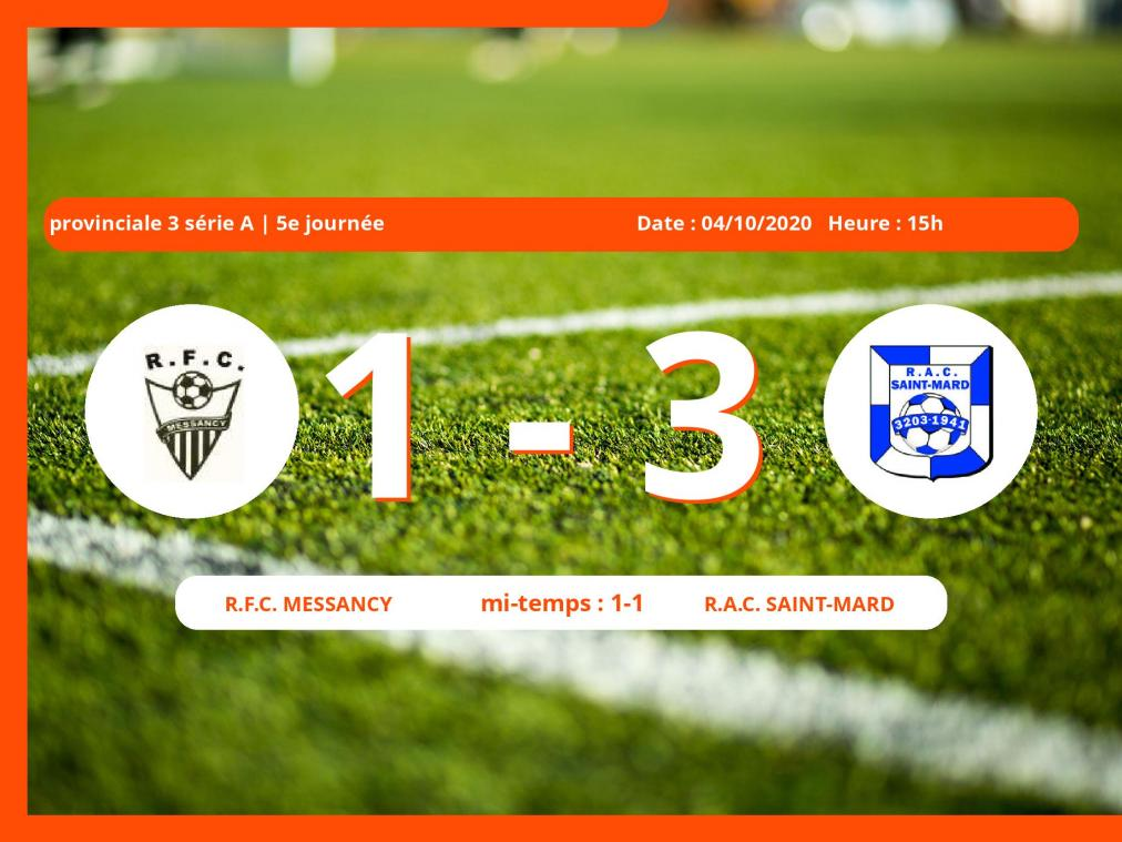 Le Royal Football Club Messancy s'incline devant le R.A.C. Saint-Mard en Provinciale 3 série A (Luxembourg) : 1-3