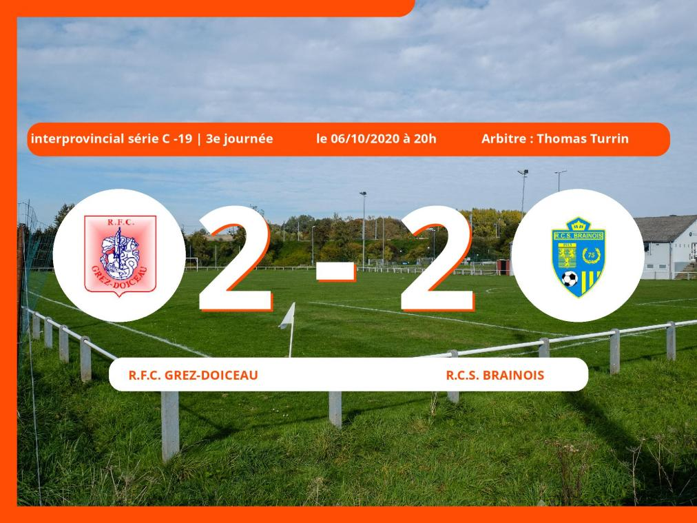 Match nul 2-2 entre le Royal Football Club Grez-Doiceau et le Royal Club Sportif Brainois en Interprovincial série C -19 (Nationale)