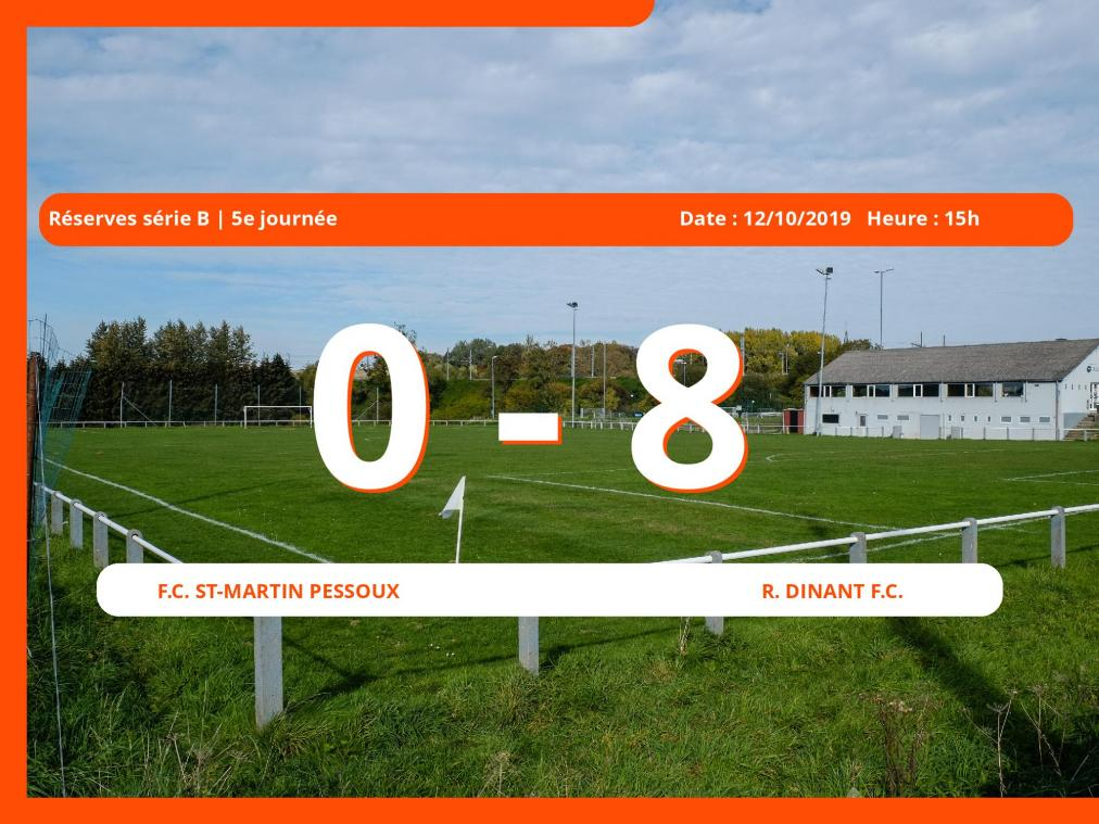 Match des Réserves série B (Namur): Succès 0-8 du Royal Dinant Football Club face au Football Club St-Martin Pessoux