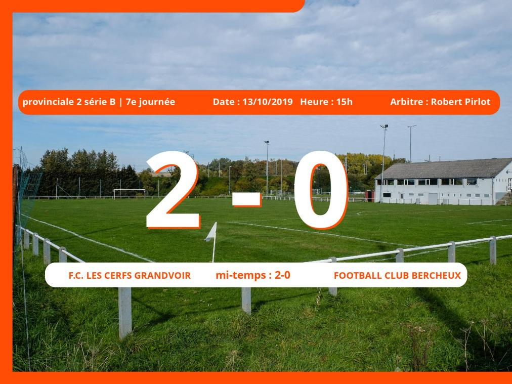 Match de provinciale 2 série B (Luxembourg): Succès 2-0 du Football Club Les Cerfs Grandvoir face au Football Club Bercheux