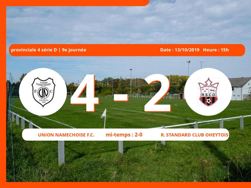 Match de provinciale 4 série D (Namur): Succès 4-2 de l'Union Namêchoise Football Club face au Royal Standard Club Oheytois