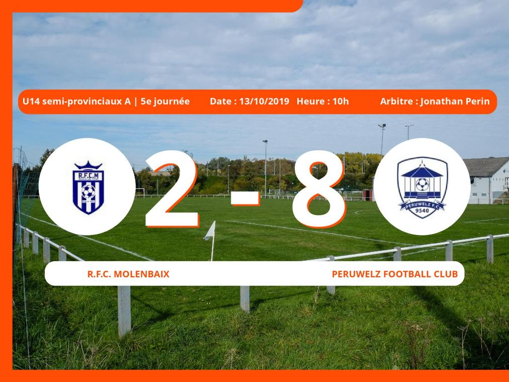 U14 semi-provinciaux A (Hainaut): succès 2-8 du Peruwelz Football Club face au Royal Football Club Molenbaix