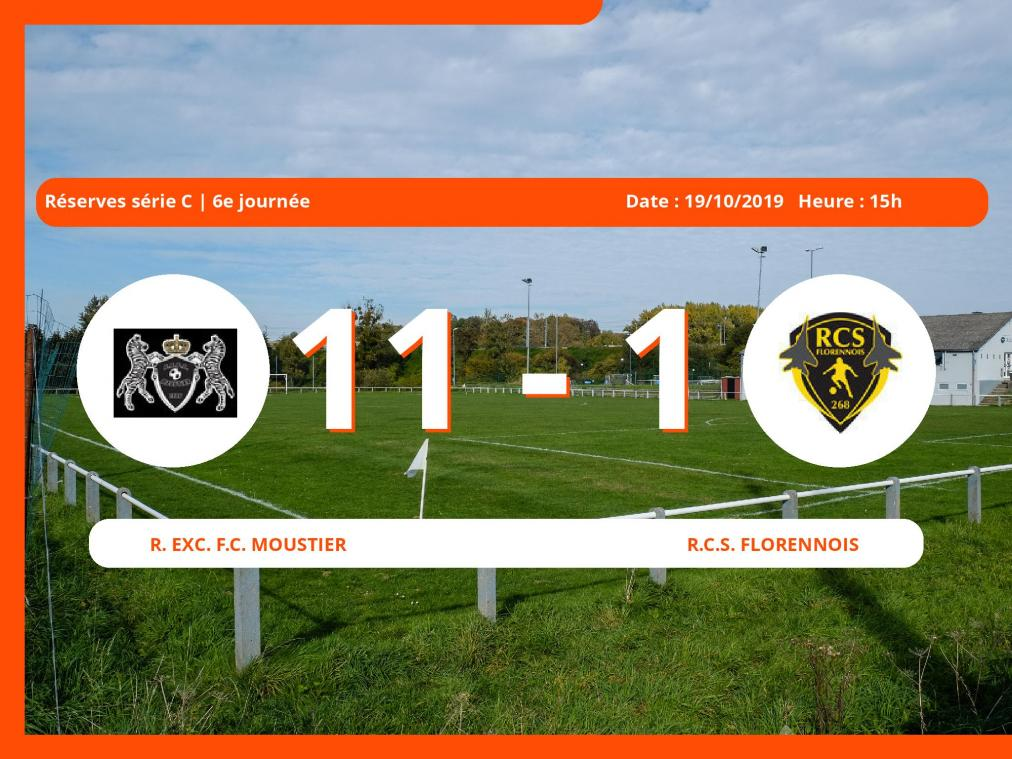 Réserves série C (Luxembourg): succès 11-1 du Royal Exc. Football Club Moustier face au Royal Club Sportif Florennois