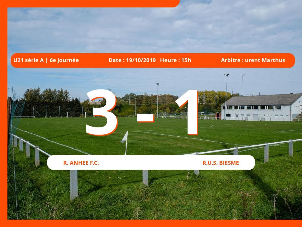 U21 série A (Namur): succès 3-1 du Royal Anhée Football Club face à la Royale Union Sportive Biesme
