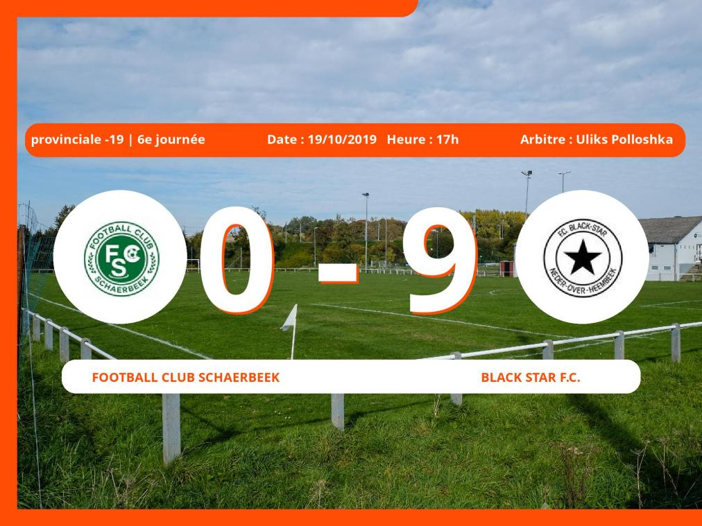 Provinciale -19 (Brabant ACFF/Bruxelles): succès 0-9 du Black Star Football Club face au Football Club Schaerbeek
