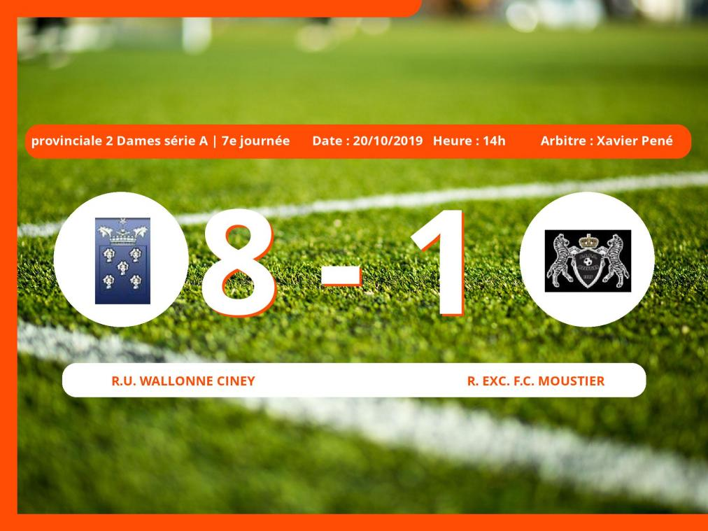 Provinciale 2 Dames série A (Namur): succès 8-1 de la R.U. Wallonne Ciney face au Royal Exc. Football Club Moustier