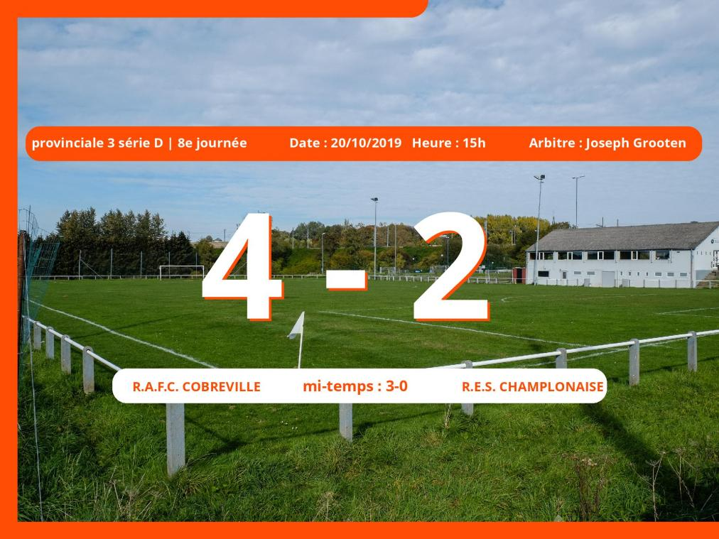 Provinciale 3 série D (Luxembourg): succès 4-2 du Royal Association Football Club Cobreville face au R.E.S. Champlonaise