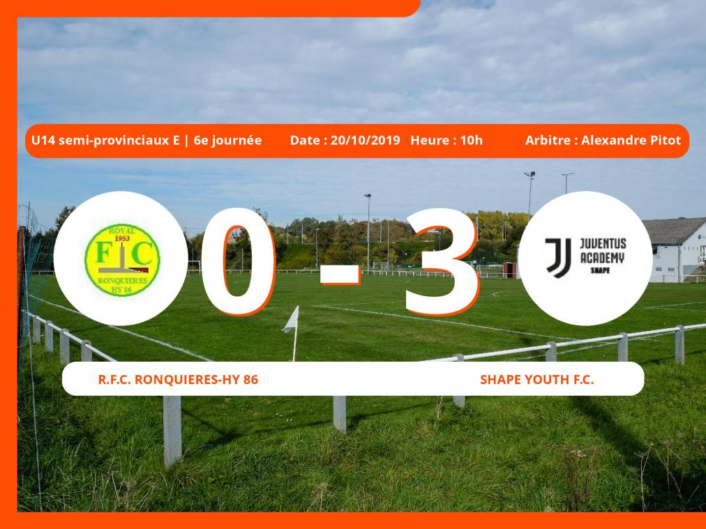U14 semi-provinciaux E (Hainaut): succès 0-3 du Shape Youth Football Club face au Royal Football Club Ronquières-Hy 86