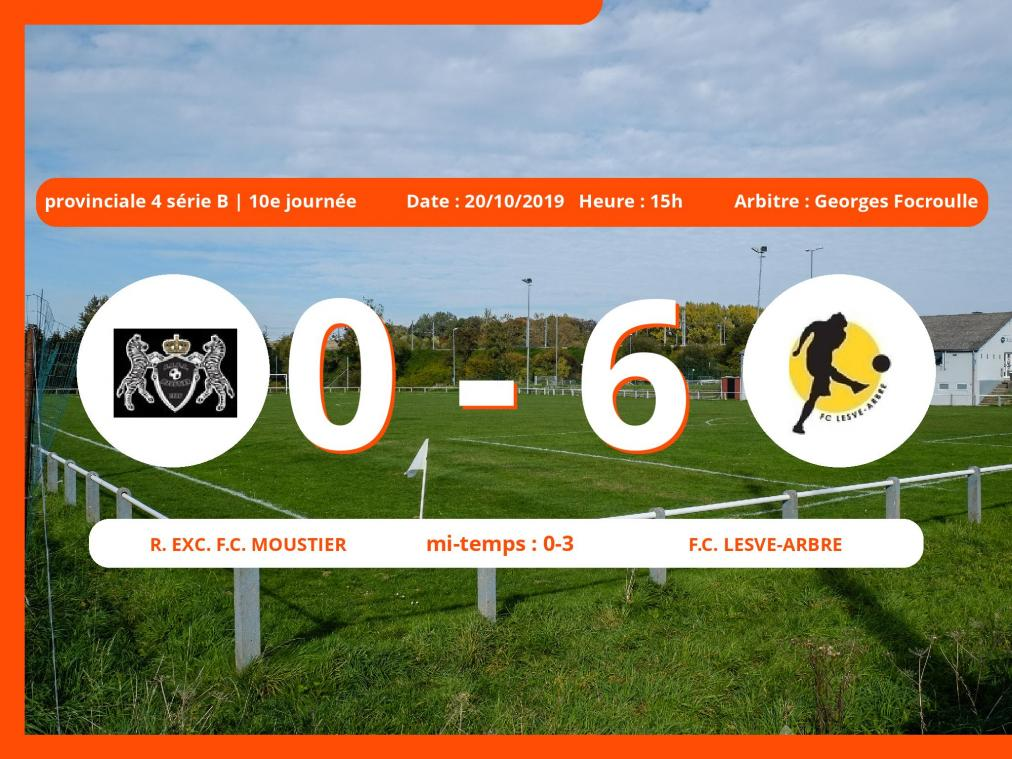 Provinciale 4 série B (Namur): succès 0-6 du Football Club Lesve-Arbre face au Royal Exc. Football Club Moustier