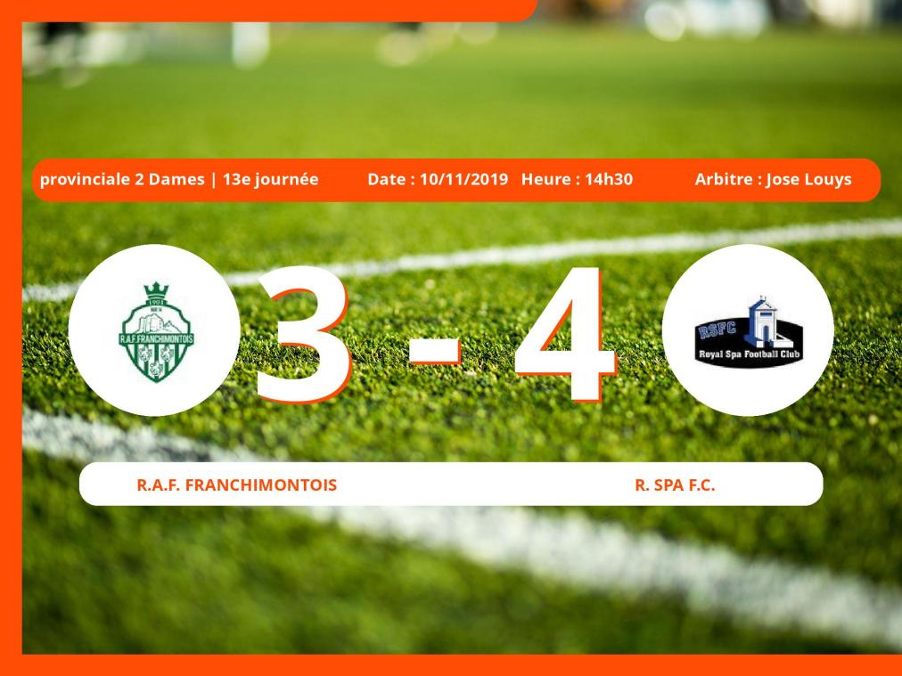 Provinciale 1 Dames (Liege): succès 3-4 du Royal Spa Football Club face au Royal Association Football Franchimontois
