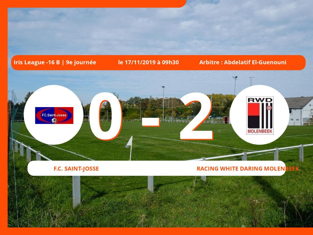 Iris League -16 B (Brabant ACFF/Bruxelles): succès 0-2 du Racing White Daring Molenbeek face au Football Club Saint-Josse