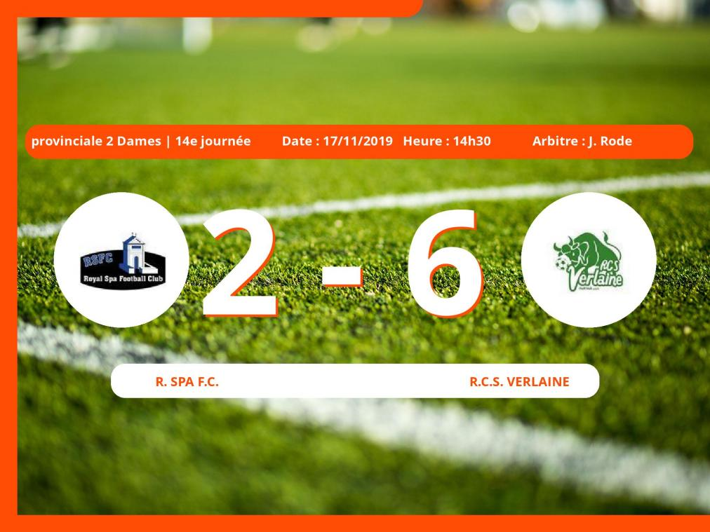 Provinciale 1 Dames (Liege): succès 2-6 du Royal Club Sportif Verlaine face au Royal Spa Football Club