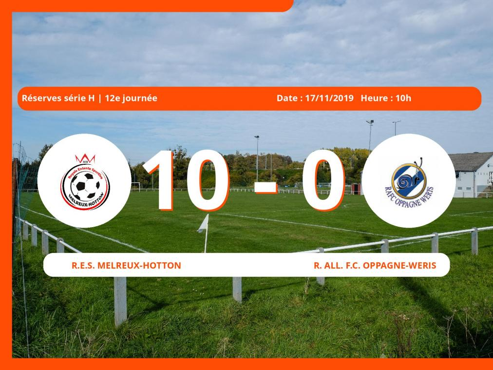 Réserves série H (Luxembourg): succès 10-0 du R.E.S. Melreux-Hotton face à la Royale All. Football Club Oppagne-Wéris