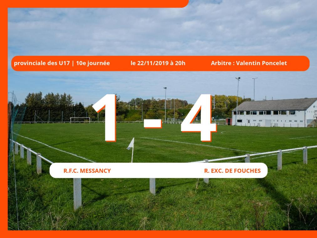 Provinciale des U17 (Luxembourg): succès 1-4 du Royal Exc. de Fouches face au Royal Football Club Messancy