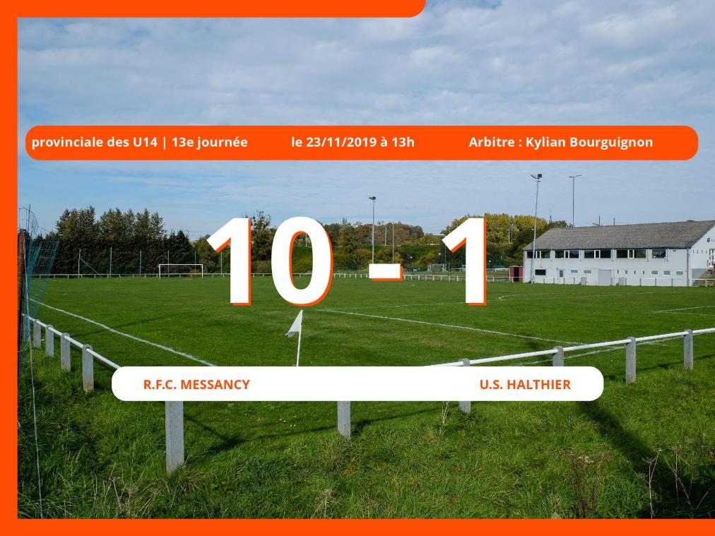 Provinciale des U14 (Luxembourg): succès 10-1 du Royal Football Club Messancy face à l'U.S. Halthier