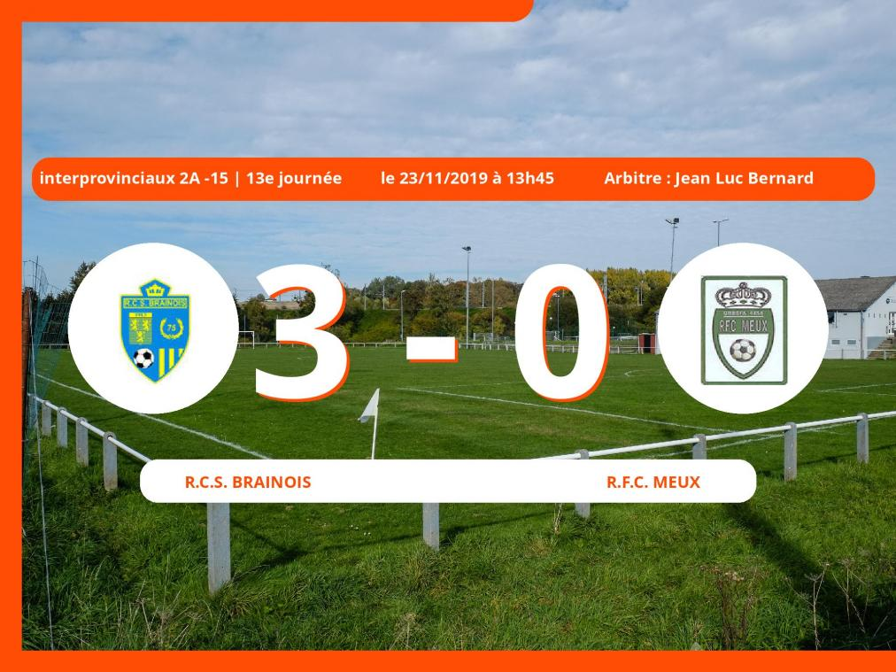 Interprovinciaux 2A -15 (Nationale): succès 3-0 du Royal Club Sportif Brainois face au Royal Football Club Meux
