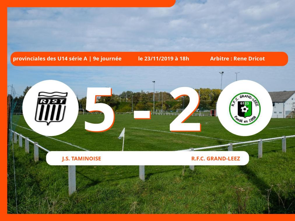 Provinciales des U14 série A (Namur): succès 5-2 de la J.S. Taminoise face au Royal Football Club Grand-Leez