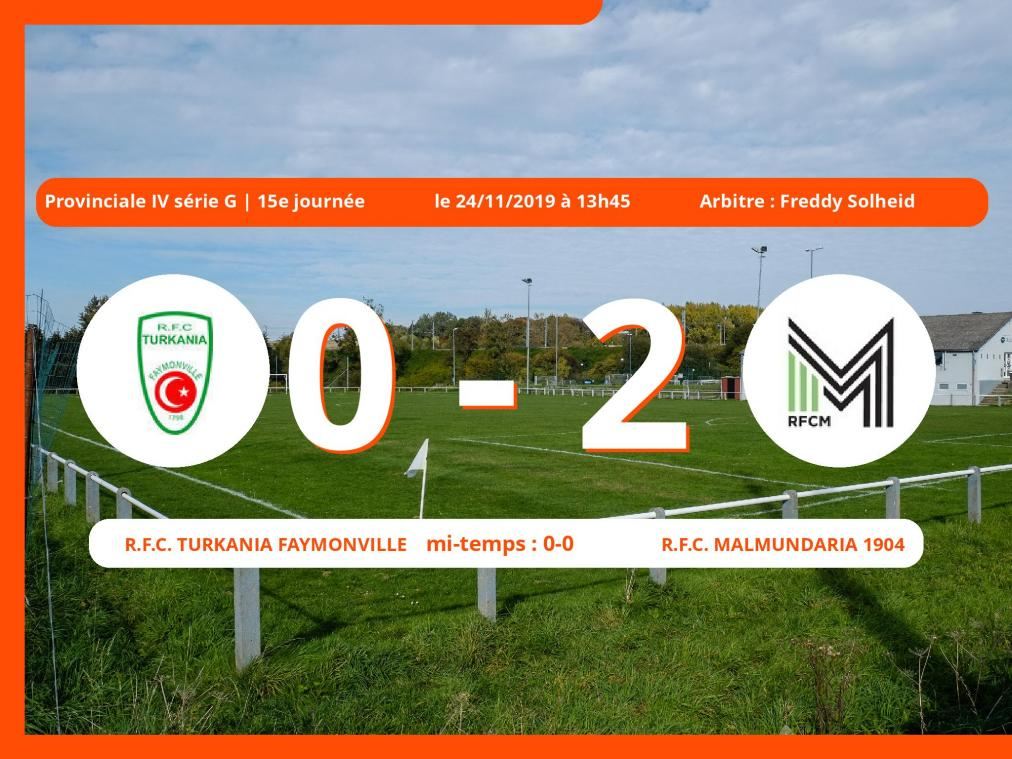 Provinciale IV série G (Liège): succès 0-2 du Royal Football Club Malmundaria 1904 face au Royal Football Club Turkania Faymonville