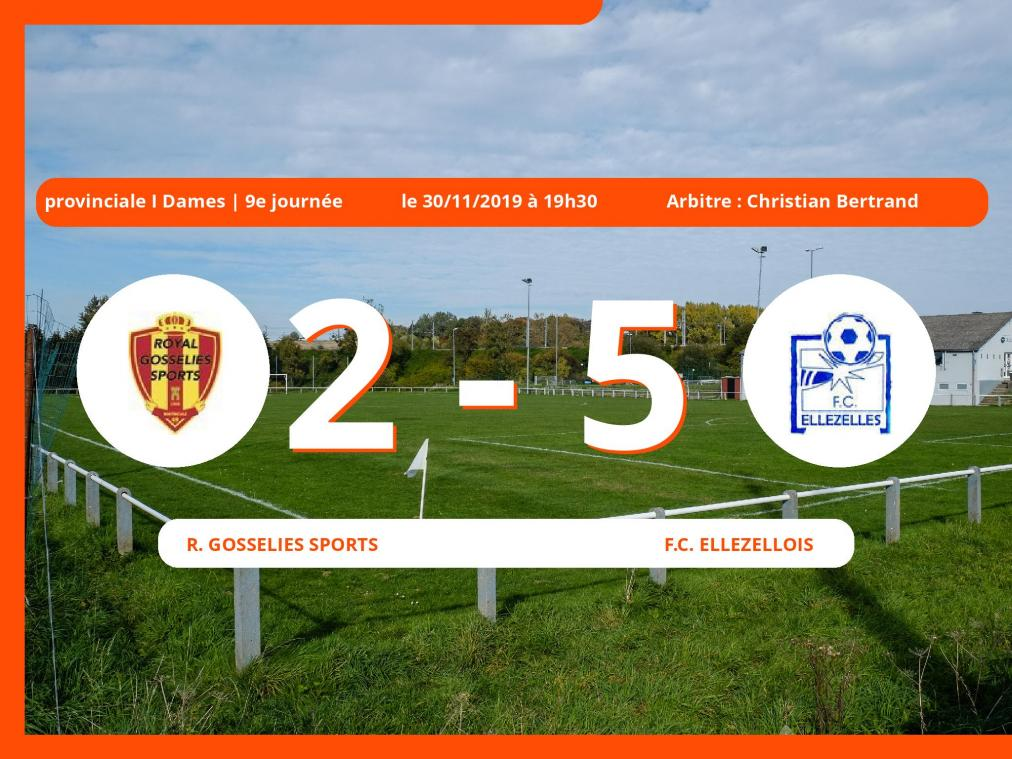 Provinciale I Dames (Hainaut): succès 2-5 du Football Club Ellezellois face au Royal Gosselies Sports