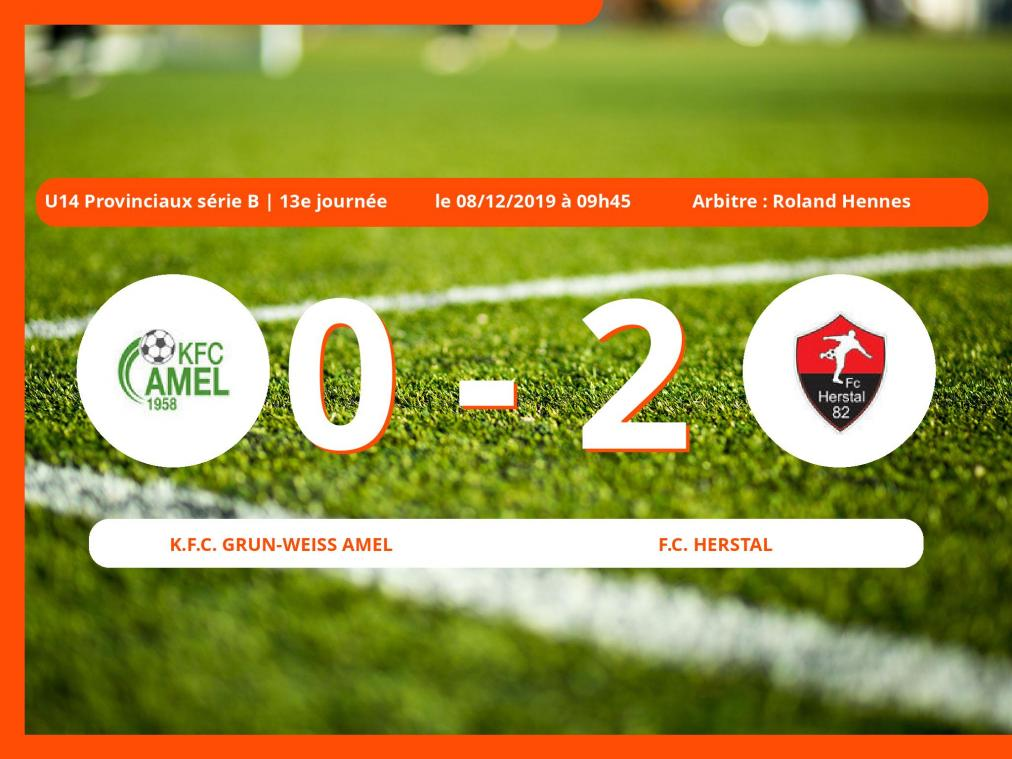 U14 Provinciaux série B (Liège) : succès 0-2 du Football Club Herstal face au K.Football Club Grun-Weiss Amel