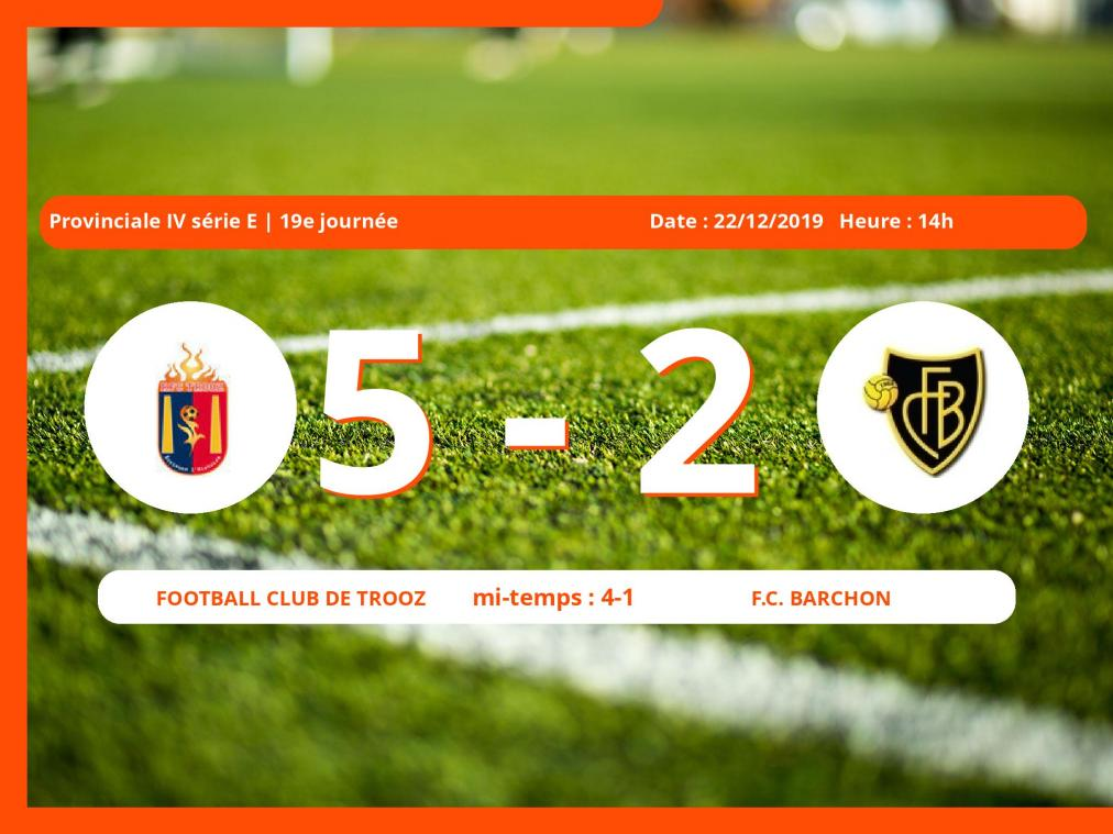 Provinciale IV série E (Liège) : succès 5-2 du Football Club de Trooz face au Football Club Barchon
