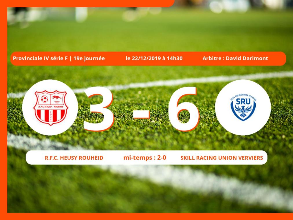 Provinciale IV série F (Liège) : succès 3-6 de la Skill Racing Union Verviers face au Royal Football Club Heusy Rouheid