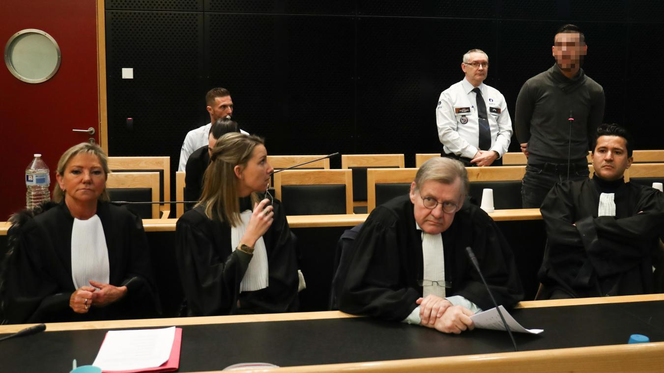 The accused Anthony Maitrot (L) and Youri Fleron (R) pictured during the jury constitution session before the assizes trial of Youri Fleron (29) and Anthony Maitrot (20), accused of the murder of Christiane Thys in 2017, before the Assizes Court of the Hainaut Province in Mons, Monday 10 February 2020. BELGA PHOTO VIRGINIE LEFOUR