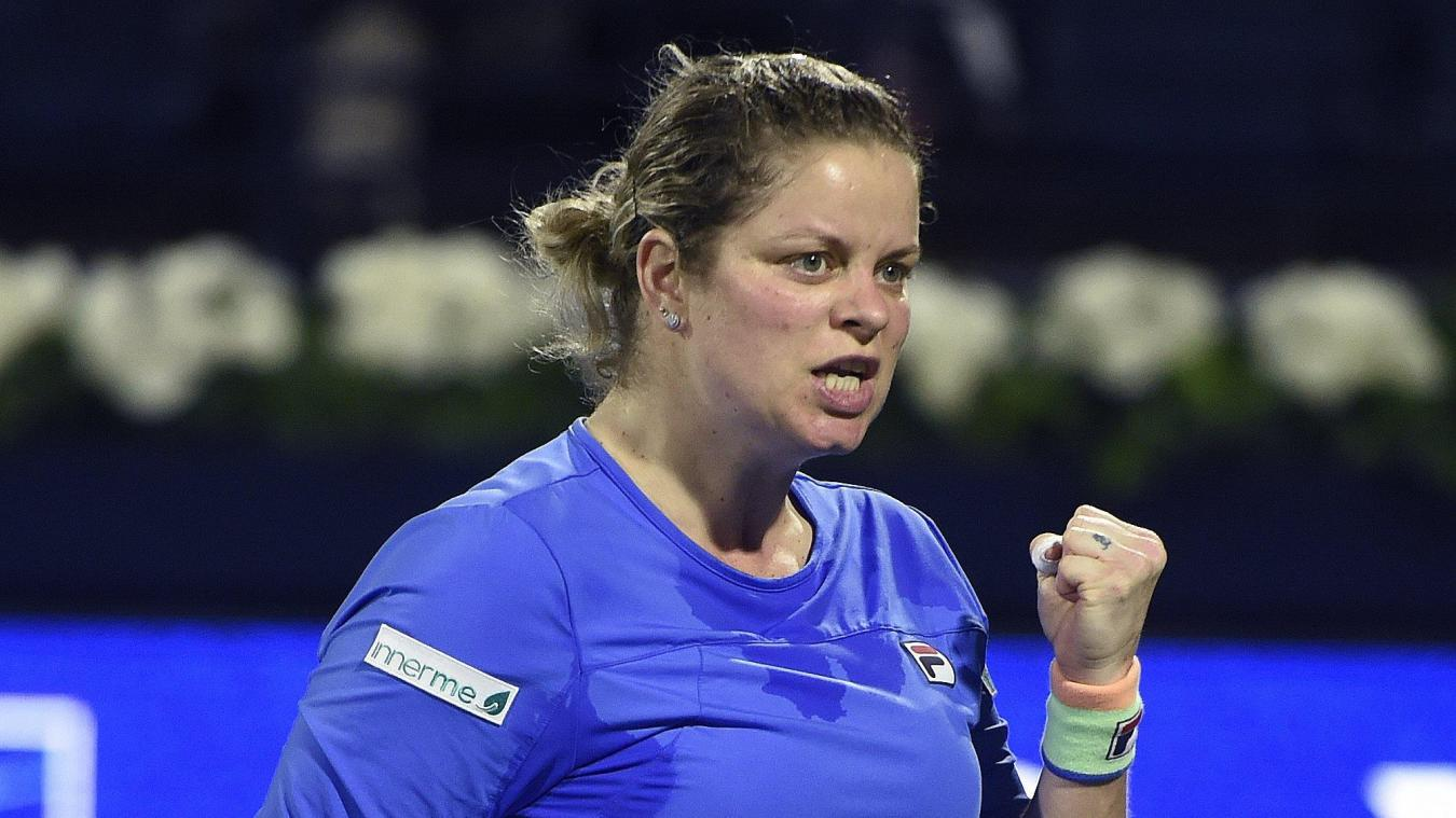 DUBAI, UAE - FEBRUARY 16 : Jubilation of  Kim Clijsters pictured during her come back 's first match vs Garbin Muguruza at the Dubai Duty Free Tennis championships on February 16, 2020 in Dubai,Dubai tennis duty free