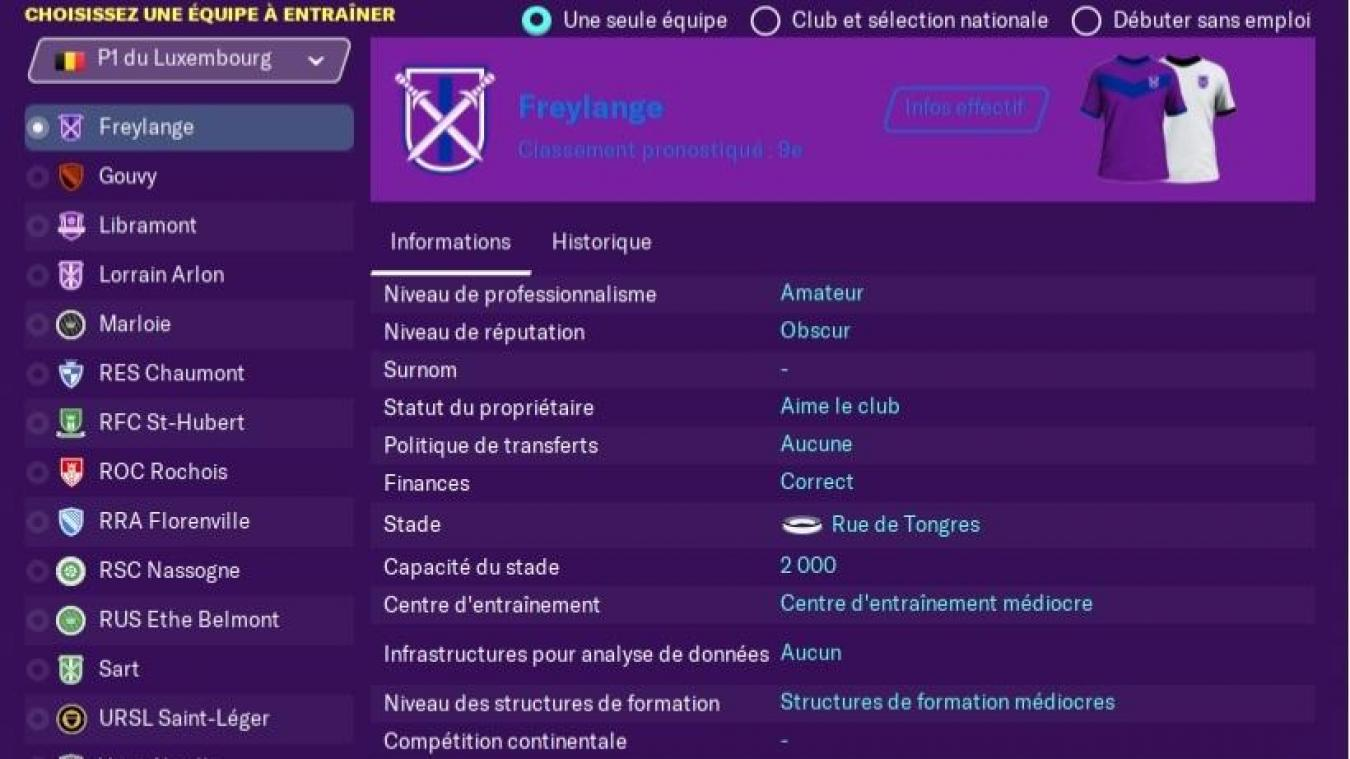 Tous les clubs luxembourgeois dans Foot Manager 2020!