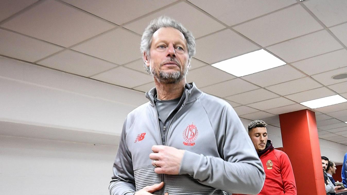 LIEGE, BELGIUM - DECEMBER 11 : Michel Preud'homme head coach and Selim Amallah midfielder of Standard Liege and  during a Press conference  prior to the UEFA Europa League group F match between  Standard Liege and Arsenal Football Club on December 11, 2019 in Liege, Belgium, 11/12/2019 ( Photo by Sebastien Smets / Photo News