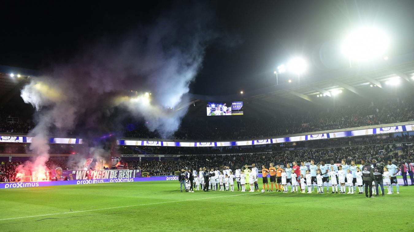 BRUSSELS, BELGIUM - JANUARY 19 : Two teams lined up during the Jupiler Pro League between RSC Anderlecht and Club Brugge at the Lotto Park stadium on January 19, 2020 in Brussels, Belgium, 19/01/2020 ( Photo by Nico Vereecken / Photo News
