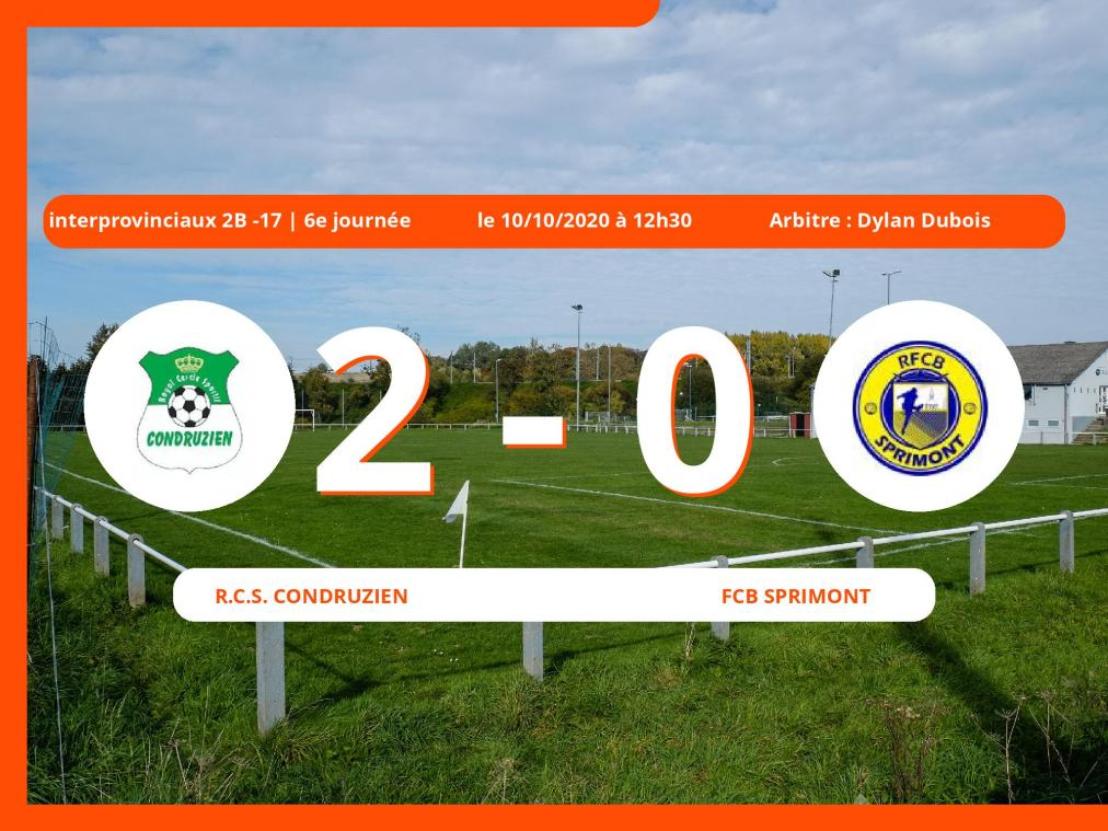 Interprovinciaux 2B -17 (Nationale) : 2-0 pour le Royal Club Sportif Condruzien contre le FCB Sprimont