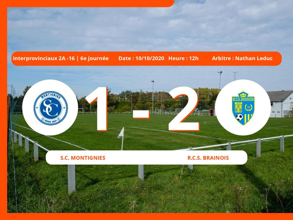 Le S.C. Montignies perd de justesse en Interprovinciaux 2A -16 (Nationale) face au Royal Club Sportif Brainois (1-2)