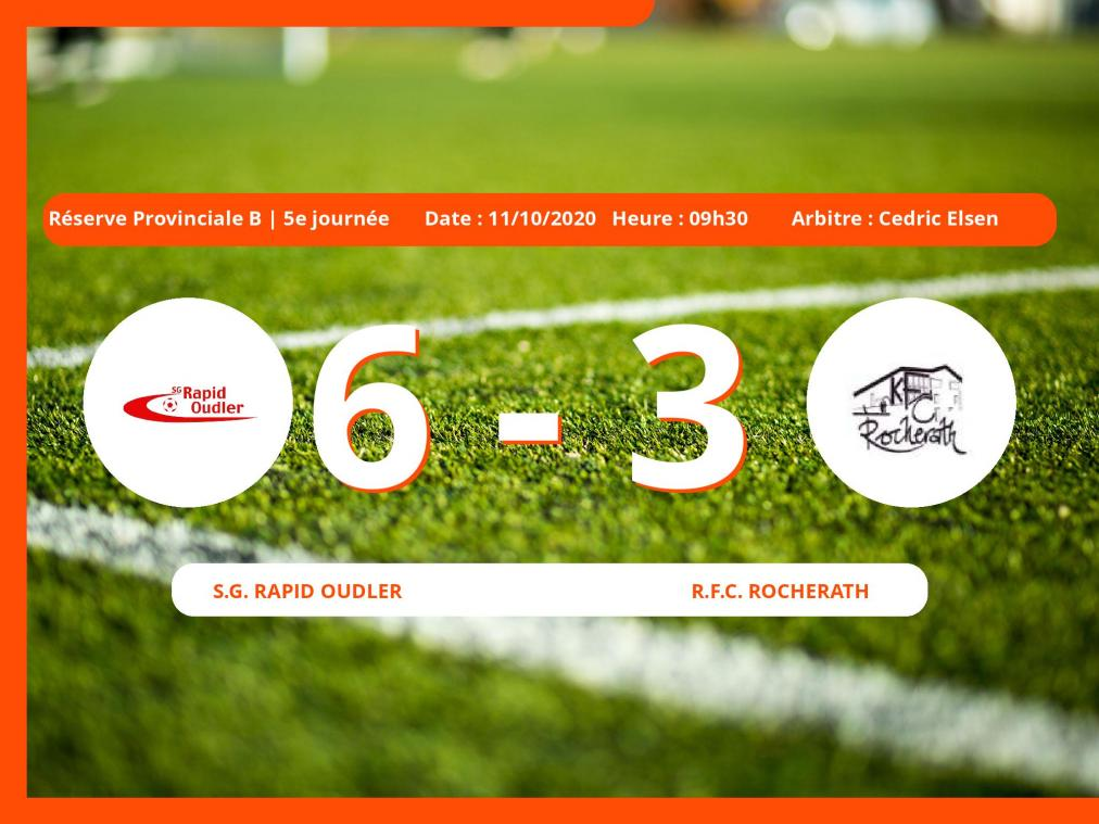 Le Royal Football Club Rocherath s'incline devant le S.G. Rapid Oudler en Réserve Provinciale B (Liège) : 6-3