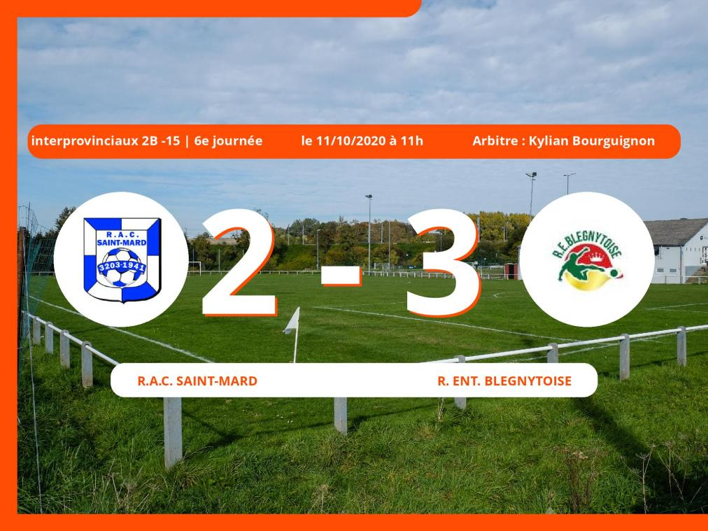 Le R.A.C. Saint-Mard s'incline devant la Royale Ent. Blégnytoise en Interprovinciaux 2B -15 (Nationale) : 2-3