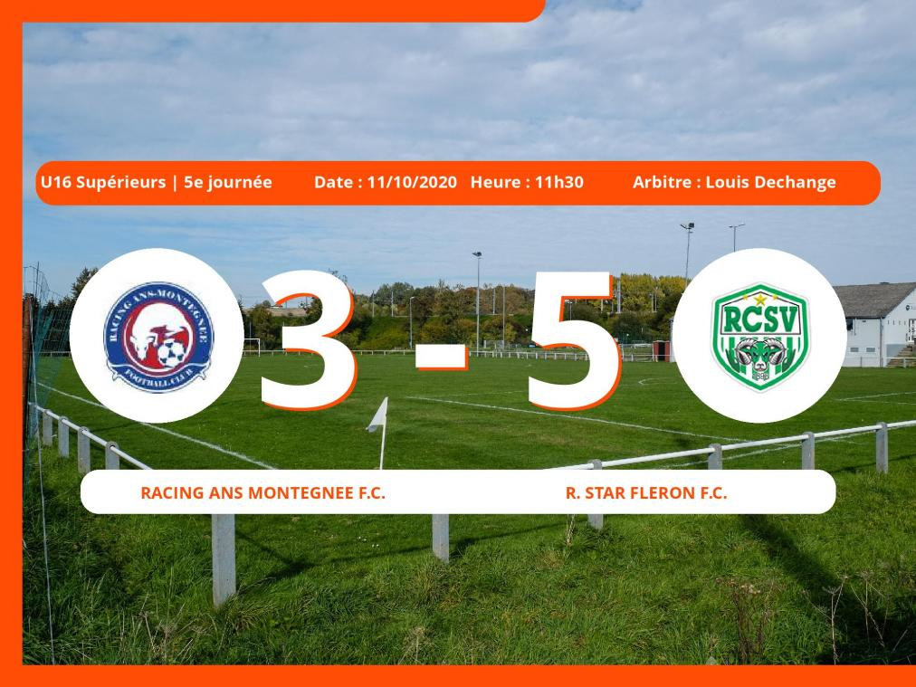 Le Racing Ans Montegnée Football Club cale face à la Royal Star Fleron Football Club en U16 Supérieurs (Liege ) (3-5)