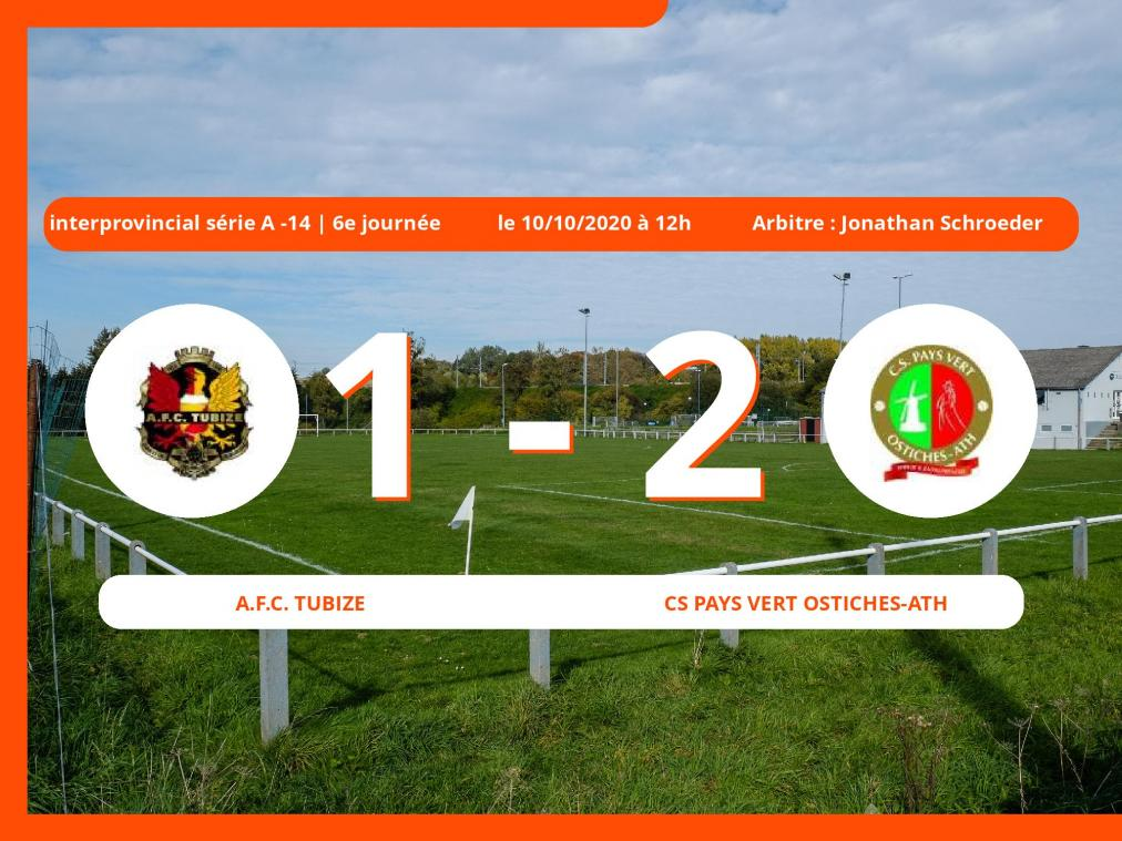 Interprovincial série A -14 (Nationale) : 1-2 pour le Cs Pays Vert Ostiches-Ath contre l'A.Football Club Tubize