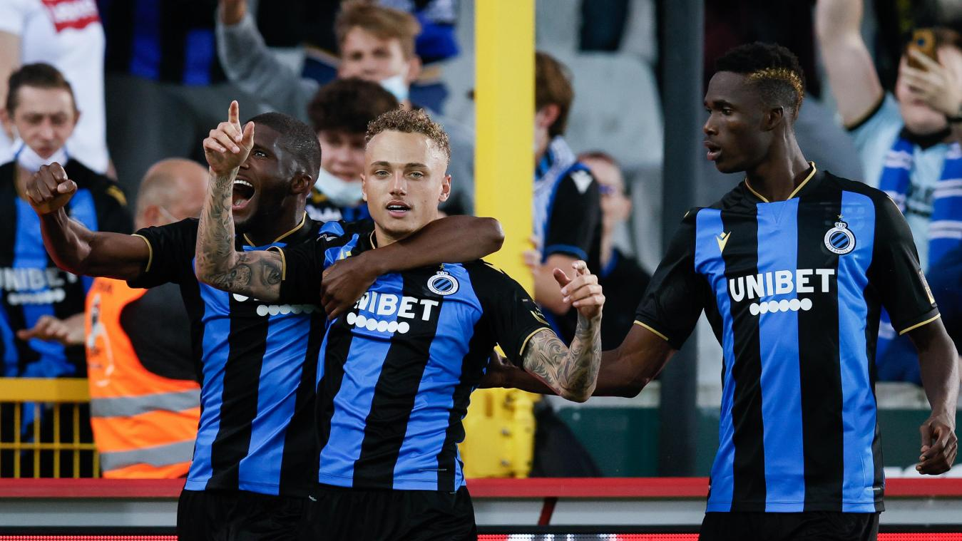 Club's Noa Lang celebrates after scoring during a soccer match between Club Brugge KV and KRC Genk, Saturday 17 July 2021 in Brugge, the 'Super Cup' between the Champions of the Jupiler Pro League and the winner of the Croky Cup. BELGA PHOTO BRUNO FAHY