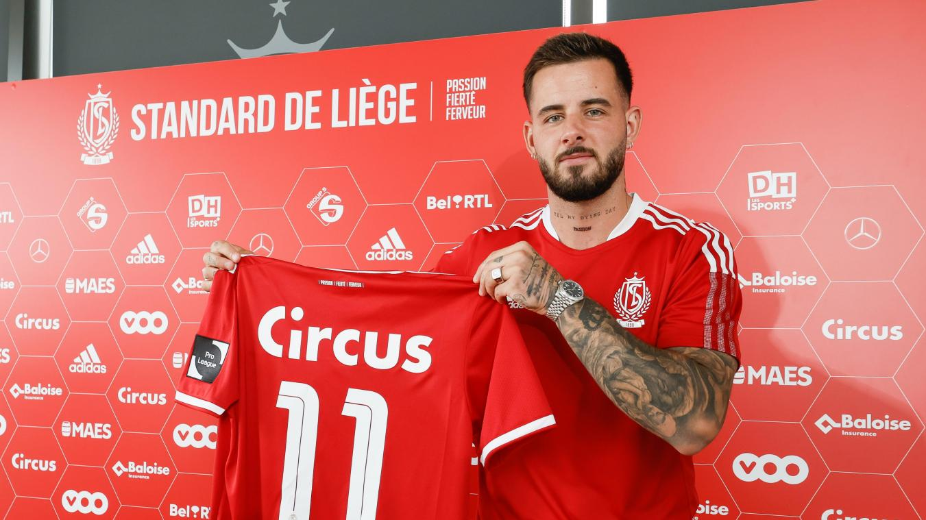 Standard's new player Aron Donnum poses for the photographer after a press conference of Belgian soccer team Standard de Liege to present a new player, Tuesday 27 July 2021 in Liege. BELGA PHOTO BRUNO FAHY